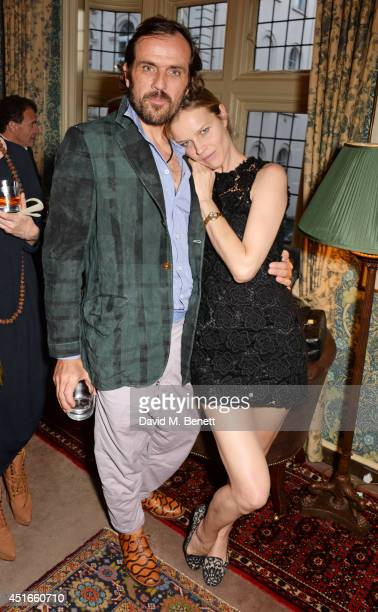 Andreas Kronthaler and Eva Herzigova attend Tracey Emin's birthday party at Mark's Club on July 3 2014 in London England