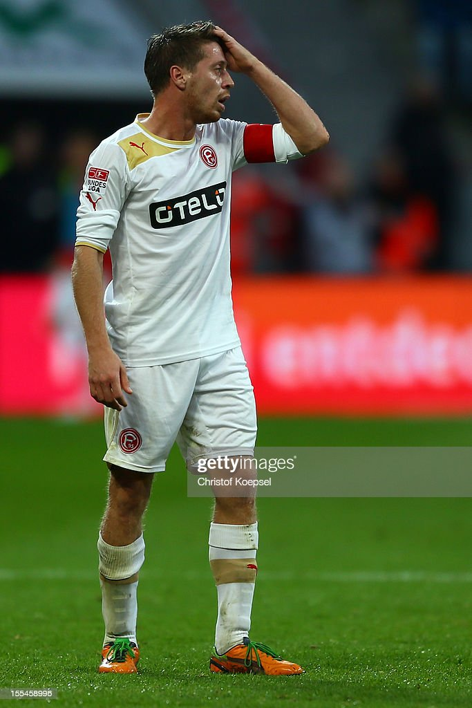 Andreas Lambertz of Duesseldorf looks dejected during the Bundesliga match between Bayer 04 Leverkusen and Fortuna Duesseldorf at BayArena on November 4, 2012 in Leverkusen, Germany. (Photo by Christof Koepsel/Bongarts/Getty Images) .