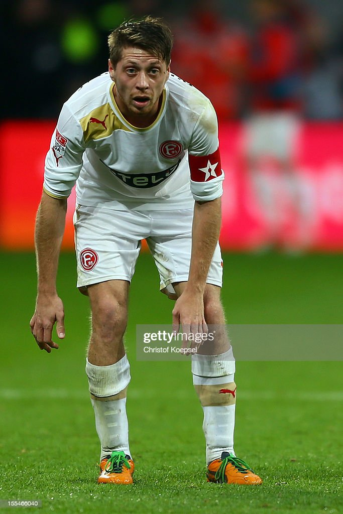 Andreas Lambertz of Duesseldorf looks on during the Bundesliga match between Bayer 04 Leverkusen and Fortuna Duesseldorf at BayArena on November 4, 2012 in Leverkusen, Germany. (Photo by Christof Koepsel/Bongarts/Getty Images) .