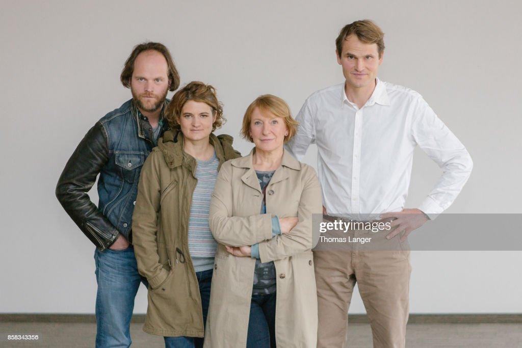 Andreas Leopold Schadt, Elli Wasserscheid, Dagmar Menzel and Fabian Hinrichs pose during the 'Tatort - 'Ich toete niemand' on set photocall at Quellegebaeude on October 6, 2017 in Nuremberg, Germany.