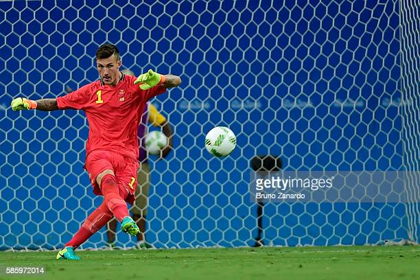 Andreas Linde goalkeeper of Sweden in action during 2016 Summer Olympics match between Colombia and Sweden at Arena da Amazonia at Arena Amazonia on...