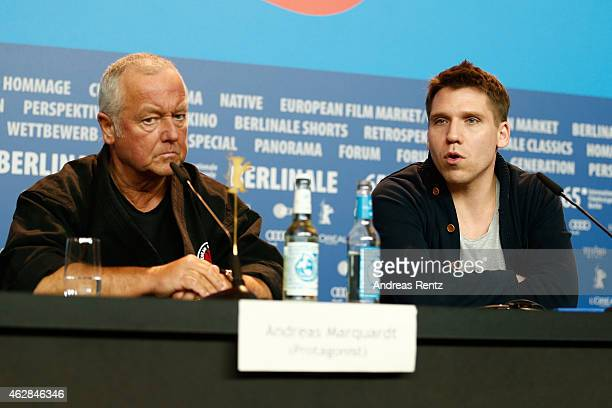 Andreas Marquardt and Hanno Koffler attend the 'Tough Love' press conference during the 65th Berlinale International Film Festival at Grand Hyatt...