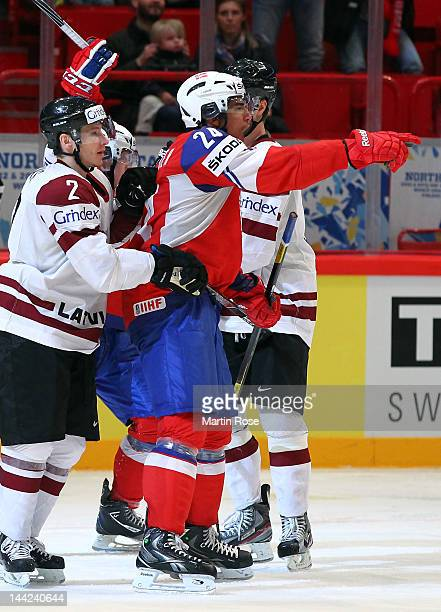 Andreas Martinsen of Norway celebrates after he scores his team's 2nd goal during the IIHF World Championship group S match between Norway and Latvia...