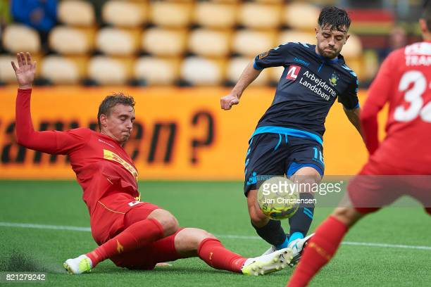 Andreas Maxso of FC Nordsjalland and Besar Halimi of Brondby IF compete for the ball during the Danish Alka Superliga match between FC Nordsjalland...
