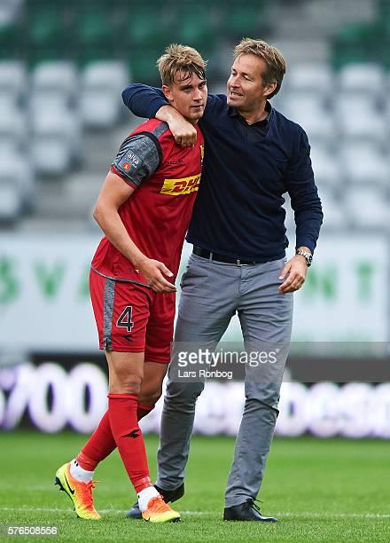 Andreas Maxso of FC Nordsjalland and Kasper Hjulmand head coach of FC Nordsjalland celebrate after the Danish Alka Superliga match between Viborg FF...