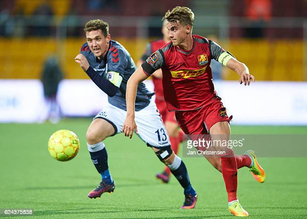 Andreas Maxso of FC Nordsjalland in action during the Danish Alka Superliga match between FC Nordsjalland and AGF Arhus at Right to Dream Park on...