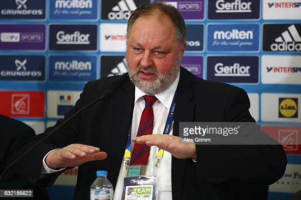 Andreas Michelmann President of the German Handball Federation DHB attends a press conference during the 25th IHF Men's World Championship 2017 at...