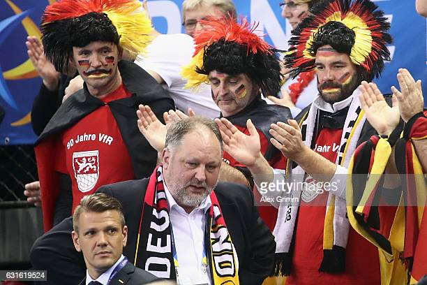 Andreas Michelmann president of the German Handball Federation DHB reacts during the 25th IHF Men's World Championship 2017 match between Germany and...
