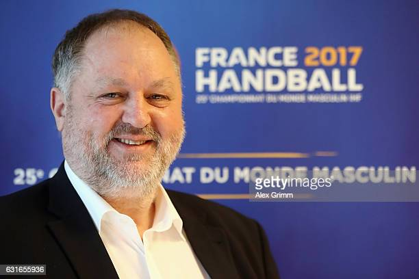 Andreas Michelmann President of the German Handball Federation DHB poses during a Germany press conference at Novotel Rouen Sud during the 25th IHF...