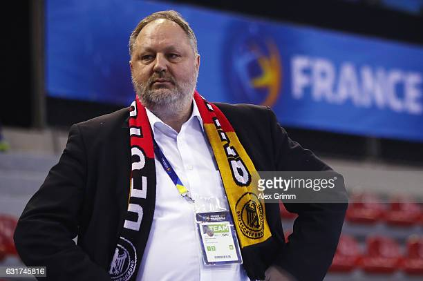 Andreas Michelmann President of the German Handball Federation DHB looks on prior to the 25th IHF Men's World Championship 2017 match between Chile...