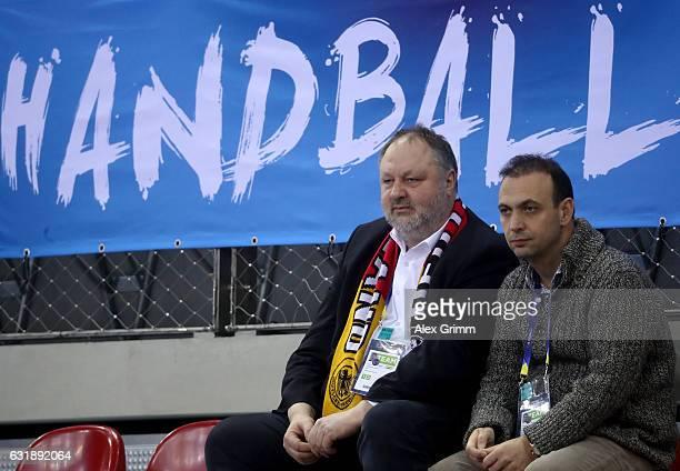 Andreas Michelmann President of the German Handball Federation DHB and Bob Hanning Vice President of the German Handball Federation DHB look on...