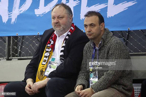 Andreas Michelmann President of the German Handball Federation DHB and Bob Hanning Vice President of the German Handball Federation DHB look on prior...