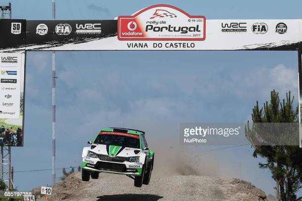 Andreas Mikkelsen and Anders Jaeger Synnevaag in Skoda Fabia RS of Skoda Motorsport in action during the SS2 Viana do Castelo of WRC Vodafone Rally...