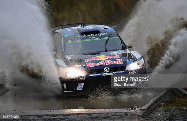 Andreas Mikkelsen and co driver Anders Jaeger of Norway and Volkswagen Motorsport II during the FIA World Rally Championship Great Britain Sweet Lamb...