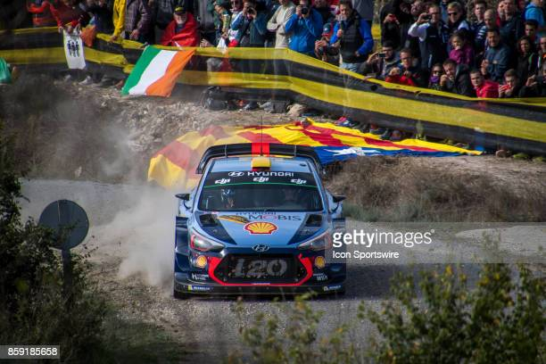 Andreas Mikkelsen and codriver Anders Jaener of Hyundai Motorsport compete during the Savalla Stage of the Rally de Espana round of the 2017 FIA...