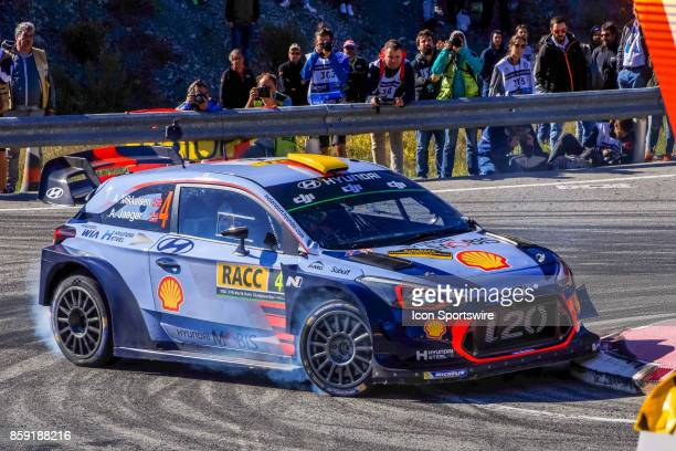 Andreas Mikkelsen and codriver Anders Jaener of Hyundai Motorsport round the famous Riudecanyes roundabouts of the Rally de Espana round of the 2017...