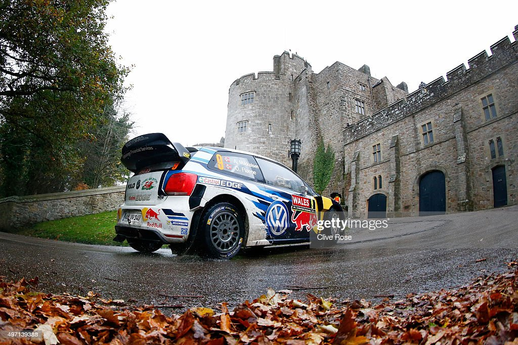 <a gi-track='captionPersonalityLinkClicked' href=/galleries/search?phrase=Andreas+Mikkelsen&family=editorial&specificpeople=4055844 ng-click='$event.stopPropagation()'>Andreas Mikkelsen</a> and Ola Floene of Norway drive the Volkswagen Motosport Polo R WRC during the Chirk Castle stage of the FIA World Rally Championship Great Britain on November 14, 2015 in Chirk, Wales.