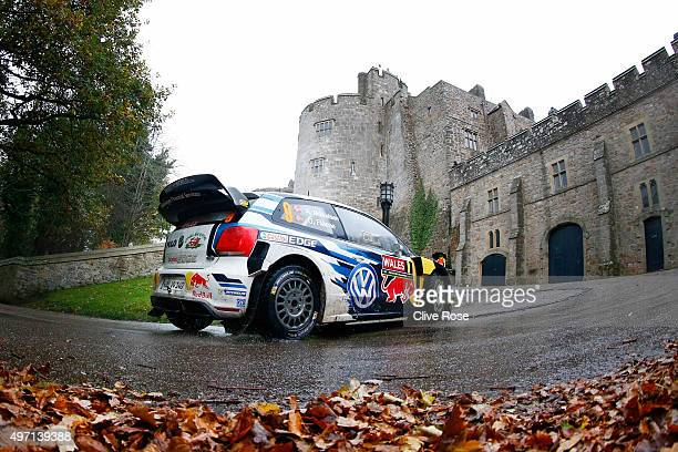Andreas Mikkelsen and Ola Floene of Norway drive the Volkswagen Motosport Polo R WRC during the Chirk Castle stage of the FIA World Rally...