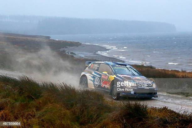 Andreas Mikkelsen and Ola Floene of Norway drive the Volkswagen Polo R WRC during the Brenig stage of the FIA World Rally Championship Great Britain...