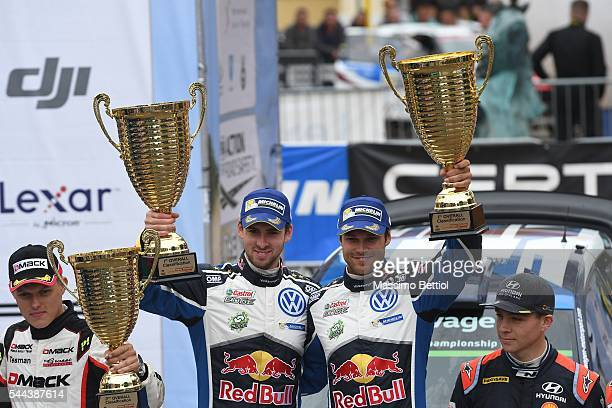 Andreas Mikkelsen of Norway and Anders Jaeger of Norway celebrate their victory during Day Three of the WRC Poland on July 3 2016 in Mikolajki Poland