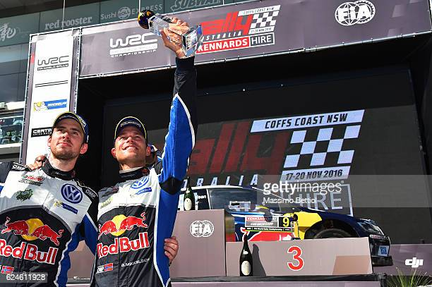 Andreas Mikkelsen of Norway and Anders Jaeger of Norway celebrate their victory during Day Three of the WRC Australia on November 20 2016 in Coffs...