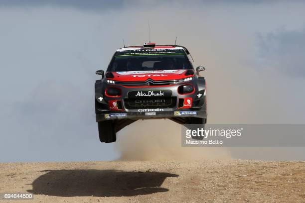 Andreas Mikkelsen of Norway and Anders Jaeger of Norway compete in their Citroen Total Abu Dhabi WRT Citroen C3 WRC during Day Two of the WRC Italy...