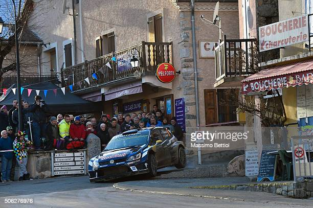 Andreas Mikkelsen of Norway and Anders Jaeger Synnevag of Norway compete in their Volkswagen Motorsport II Volkswagen Polo R WRC during Day Two of...