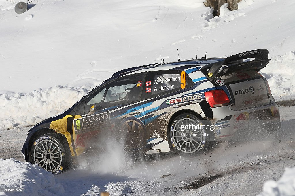 <a gi-track='captionPersonalityLinkClicked' href=/galleries/search?phrase=Andreas+Mikkelsen&family=editorial&specificpeople=4055844 ng-click='$event.stopPropagation()'>Andreas Mikkelsen</a> of Norway and Anders Jaeger Synnevag of Norway compete in their Volkswagen Motorsport II Volkswagen Polo R WRC during Day Three on January 23, 2016 in Gap, France.