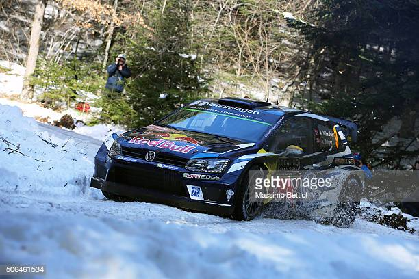 Andreas Mikkelsen of Norway and Anders Jaeger Synnevag of Norway compete in their Volkswagen Motorsport II Volkswagen Polo R WRC during Day Three on...