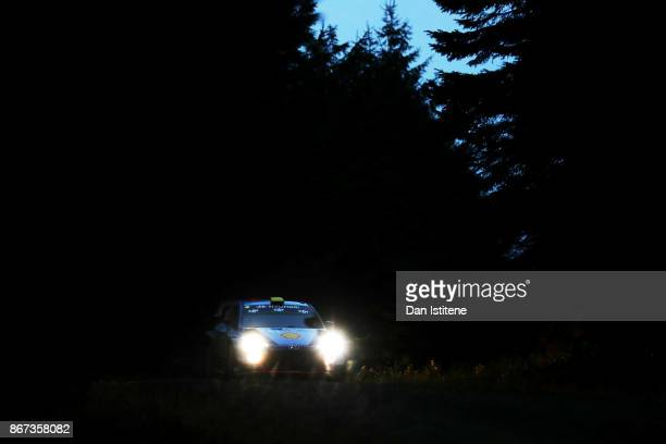Andreas Mikkelsen of Norway and Hyundai Motorsport drives with codriver Anders Jaeger of Norway during day two of the FIA World Rally Championship...