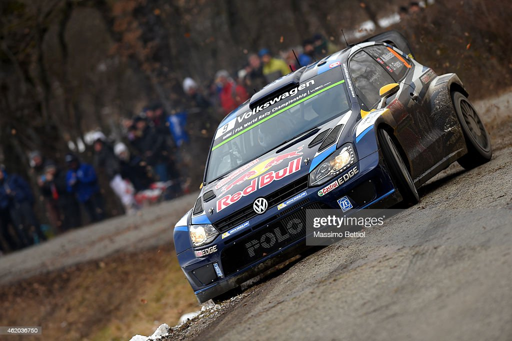 <a gi-track='captionPersonalityLinkClicked' href=/galleries/search?phrase=Andreas+Mikkelsen&family=editorial&specificpeople=4055844 ng-click='$event.stopPropagation()'>Andreas Mikkelsen</a> of Norway and Ola Floene of Norway compete in their Volkswagen Motorsport II Polo R WRC during Day Two of the WRC Montecarlo on January 23, 2015 in Gap, France.