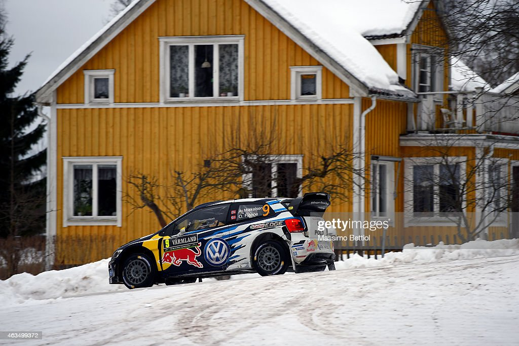 Andreas Mikkelsen of Norway and Ola Floene of Norway compete in their Volkswagen Motorsport II Volkswagen Polo R WRC during Day Three of the WRC...