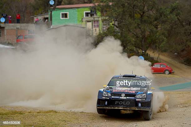 Andreas Mikkelsen of Norway and Ola Floene of Norway compete in their Volkswagen Motorsport II Volkswagen Polo R WRC during Day One of the WRC Mexico...