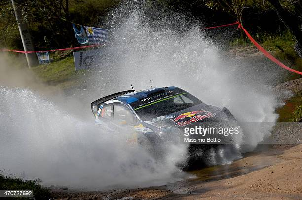 Andreas Mikkelsen of Norway and Ola Floene of Norway compete in their Volkswagen Motorsport II Volkswagen Polo R WRC during the Sakedown of the WRC...