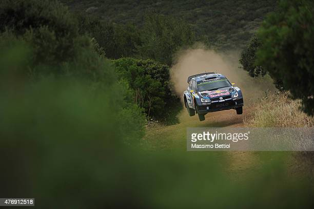 Andreas Mikkelsen of Norway and Ola Floene of Norway compete in their Volkswagen Motorsport II Volkswagen Polo R WRC during Day One of the WRC Italia...