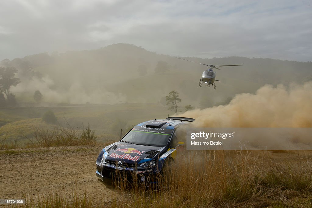 <a gi-track='captionPersonalityLinkClicked' href=/galleries/search?phrase=Andreas+Mikkelsen&family=editorial&specificpeople=4055844 ng-click='$event.stopPropagation()'>Andreas Mikkelsen</a> of Norway and Ola Floene of Norway compete in their Volkswagen Motorsport II Volkswagen Polo R WRC during Day One of the WRC Australia on September 11, 2015 in Coffs Harbour, Australia.