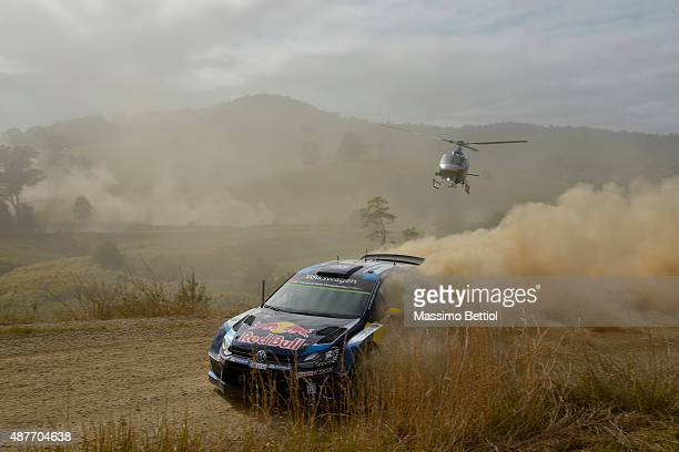 Andreas Mikkelsen of Norway and Ola Floene of Norway compete in their Volkswagen Motorsport II Volkswagen Polo R WRC during Day One of the WRC...