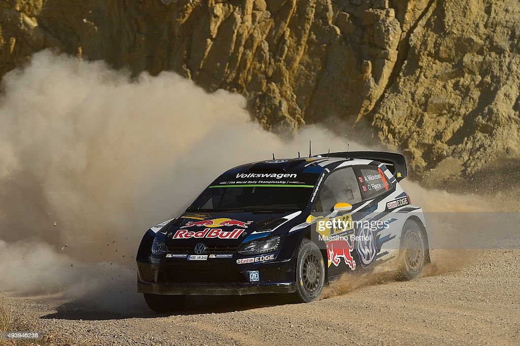 <a gi-track='captionPersonalityLinkClicked' href=/galleries/search?phrase=Andreas+Mikkelsen&family=editorial&specificpeople=4055844 ng-click='$event.stopPropagation()'>Andreas Mikkelsen</a> of Norway and Ola Floene of Norway compete in their Volkswagen Motorsport II Volkswagen Polo R WRC during Day One of the WRC Spain on October 23, 2015 in Salou, Spain.