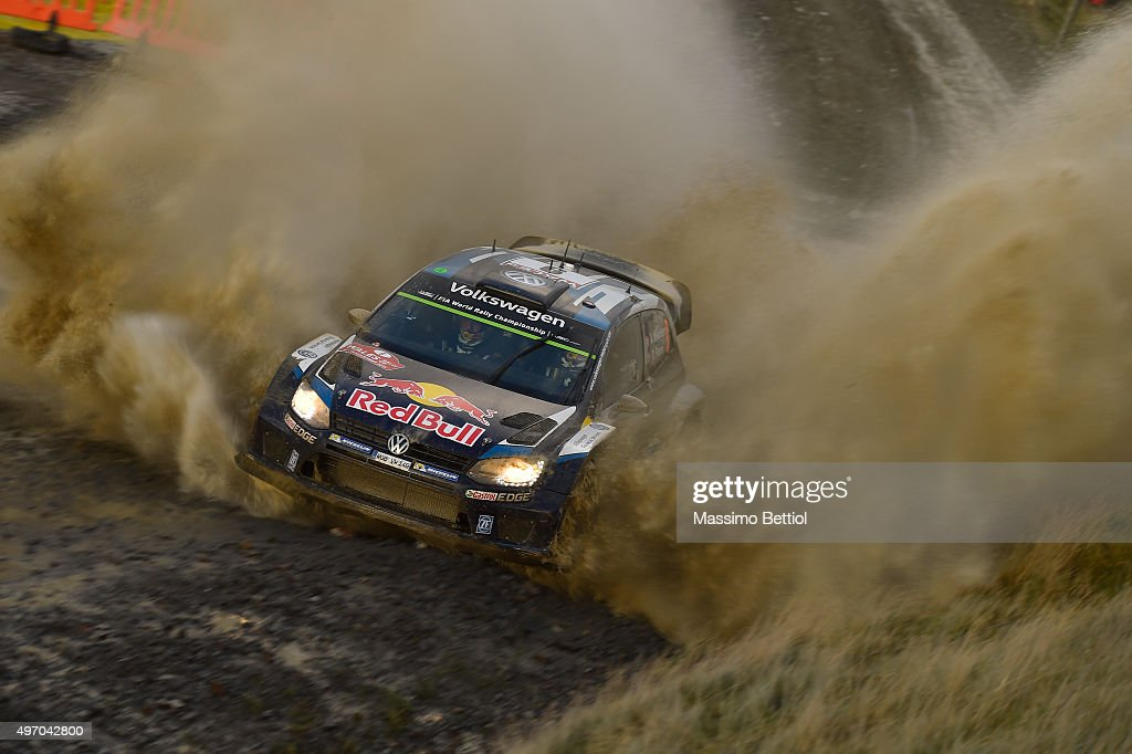 <a gi-track='captionPersonalityLinkClicked' href=/galleries/search?phrase=Andreas+Mikkelsen&family=editorial&specificpeople=4055844 ng-click='$event.stopPropagation()'>Andreas Mikkelsen</a> of Norway and Ola Floene of Norway compete in their Volkswagen Motorsport II Volkswagen Polo R WRC during Day One of the WRC Wales Rally GB on November 13, 2015 in Deeside, United Kingdom.