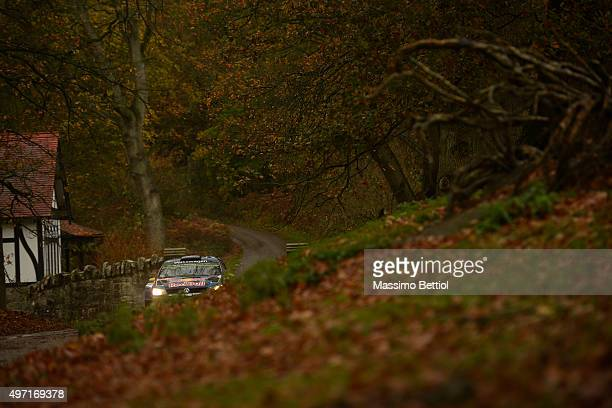 Andreas Mikkelsen of Norway and Ola Floene of Norway compete in their Volkswagen Motorsport II Volkswagen Polo R WRC during Day Two of the WRC Wales...