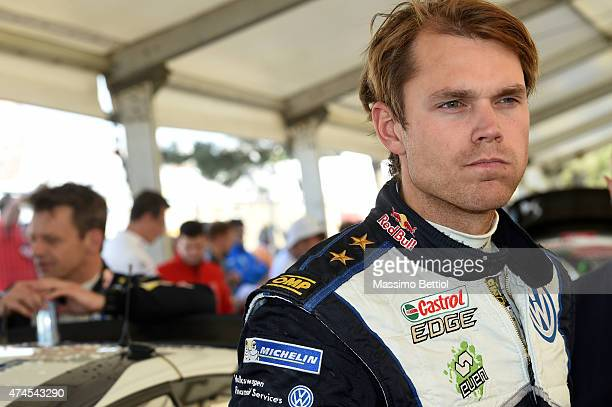 Andreas Mikkelsen of Norway in the regrouping area during Day Two of the WRC Portugal on May 23 2015 in Porto Portugal