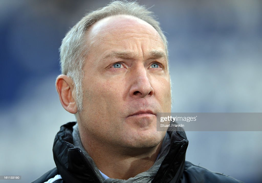 Andreas Mueller, manager of Hoffenheim looks on during the Bundesliga match between Hannover 96 and TSG 1899 Hoffenheim at AWD Arena on February 9, 2013 in Hannover, Germany.