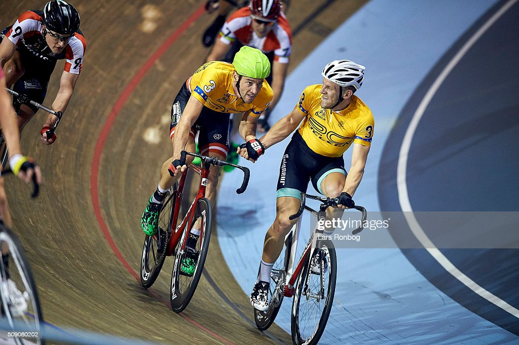 Andreas Muller and Andreas Graf in action during day five at the Copenhagen Six Days Race Cycling at Ballerup Super Arena on February 8, 2016 in Ballerup, Denmark.
