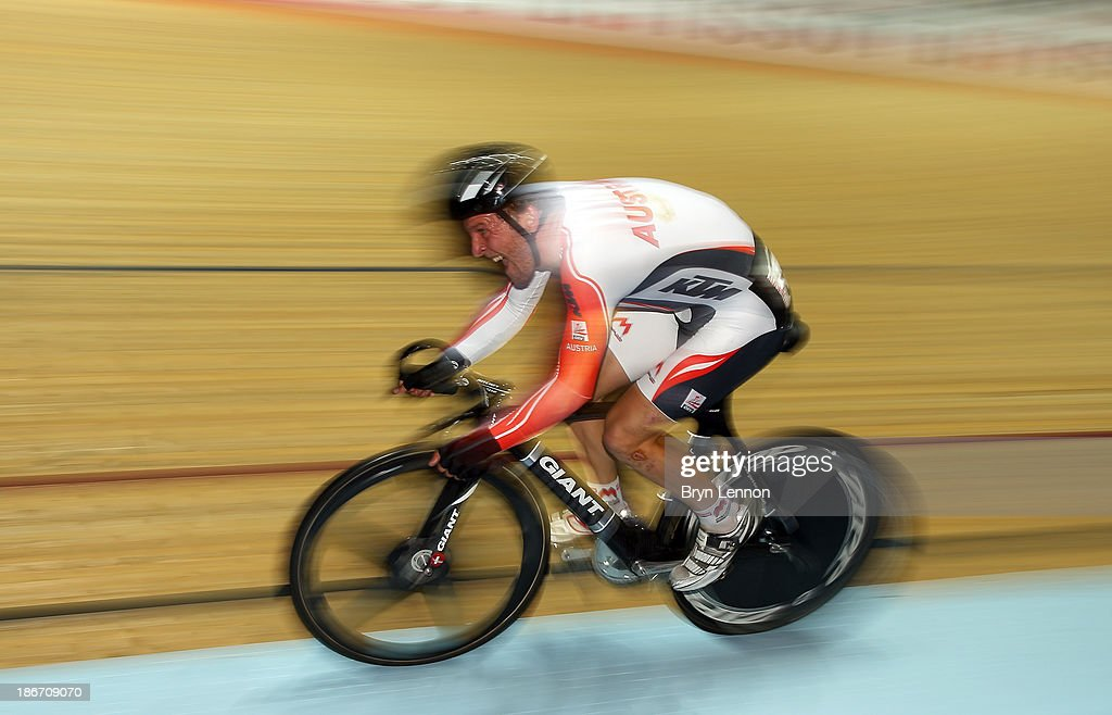 Andreas Muller of Austria in action during the Men's Scratch Race on day three of the UCI Track Cycling World Cup at Manchester Velodrome on November 3, 2013 in Manchester, England.