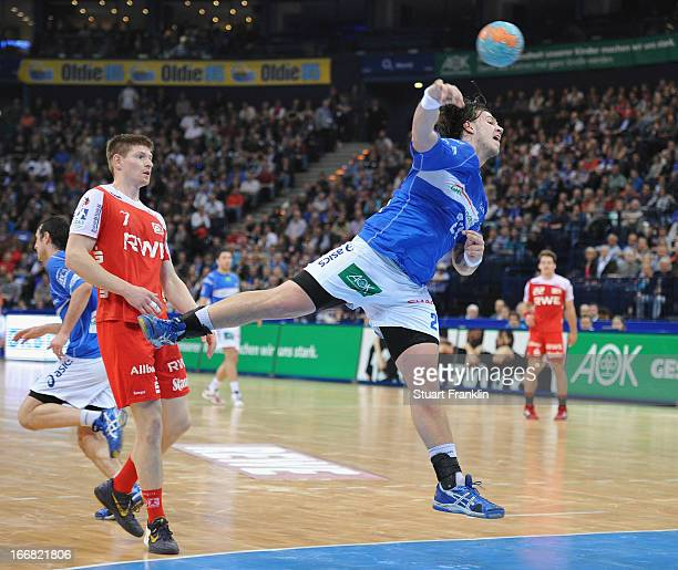 Andreas Nilsson of Hamburg throws a goal during the DKB Bundesliga handball game between HSV Hamburg and TUSEM Essen at O2 World on April 17 2013 in...