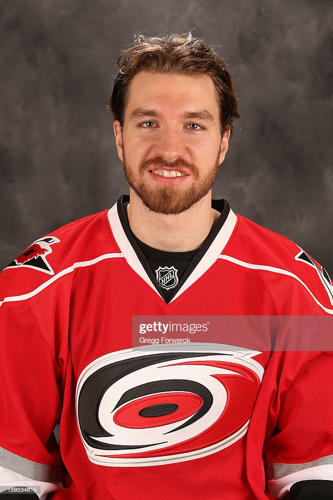 Andreas Nodl #14 of the Carolina Hurricanes poses for his official headshot for the 2012-2013 season on January 13,2013 in Raleigh, North Carolina.