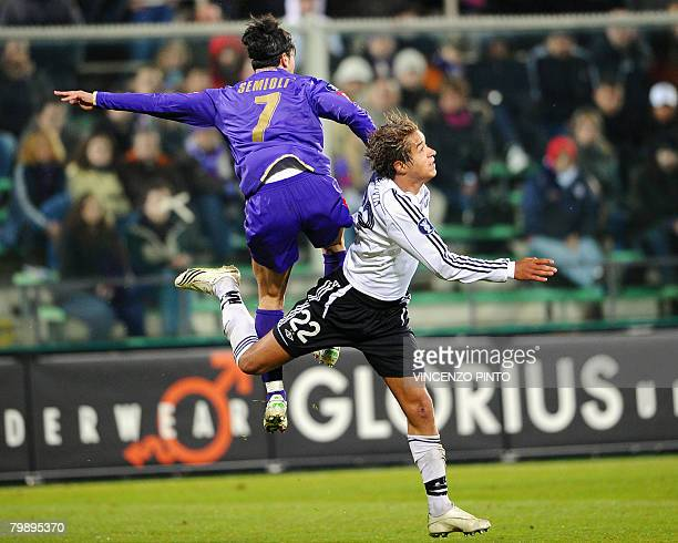 Andreas Nordvik of Rosenborg jumps with Fiorentina's midfielder Franco Semioli during their UEFA Cup 1/16 finals 2nd leg match at Artemio Franchi...