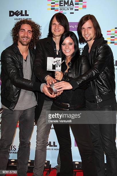 Andreas Nowak Johannes Stolle Stefanie Kloss and Thomas Stolle of Best Urban Act Silbermond pose at the backstage boards during the 2009 MTV Europe...