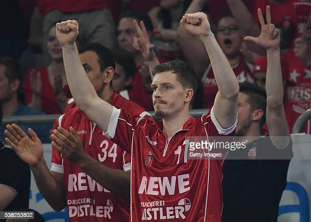 Andreas Obst throws the fists in the air after a a succefull threepointshot by a teammate during the BEKO BBL Final game 1 between Brose Baskets...