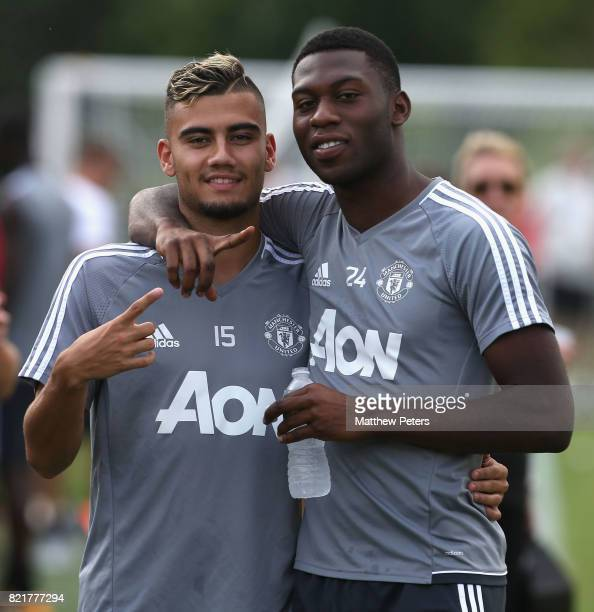 Andreas Pereira and Timothy FosuMensah of Manchester United in action during a first team training session as part of their preseason tour of the USA...